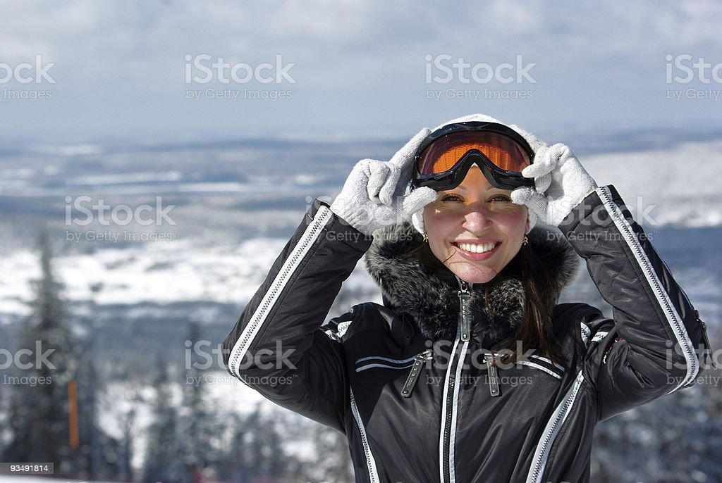 young smiley skier royalty-free stock photo