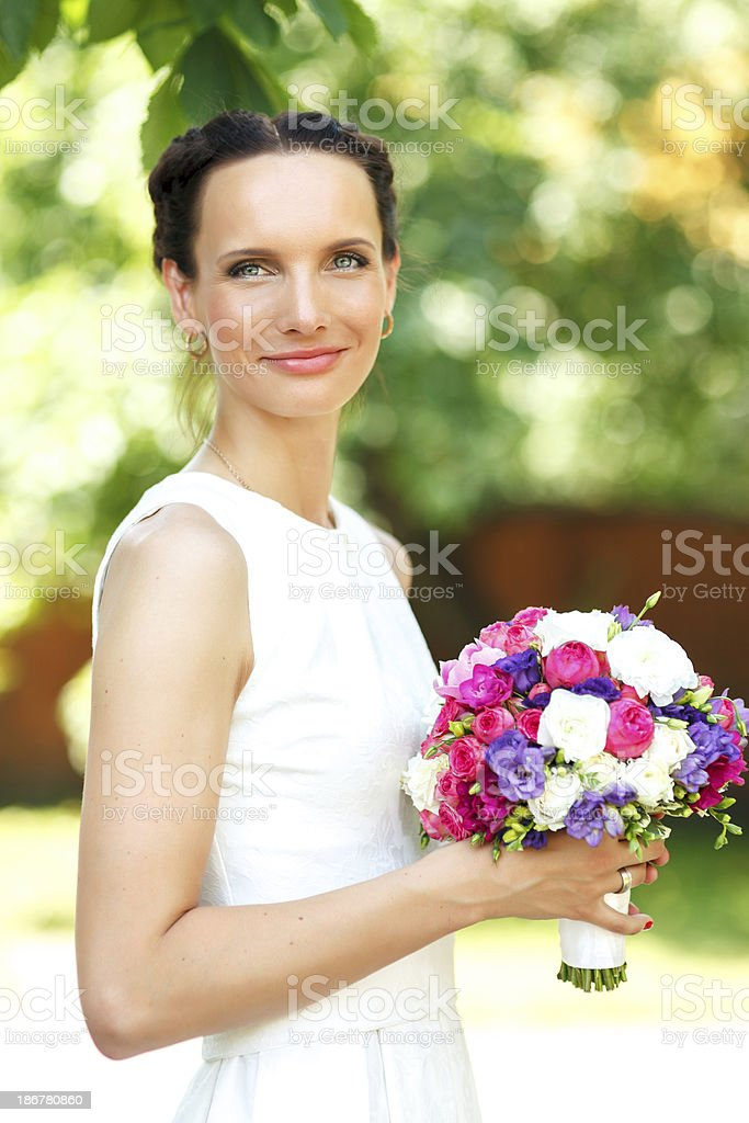 Young smiling bride royalty-free stock photo