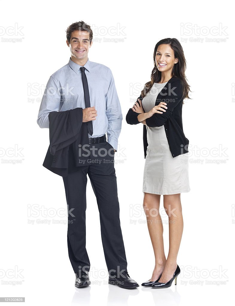 Young smiling business colleagues posing stock photo
