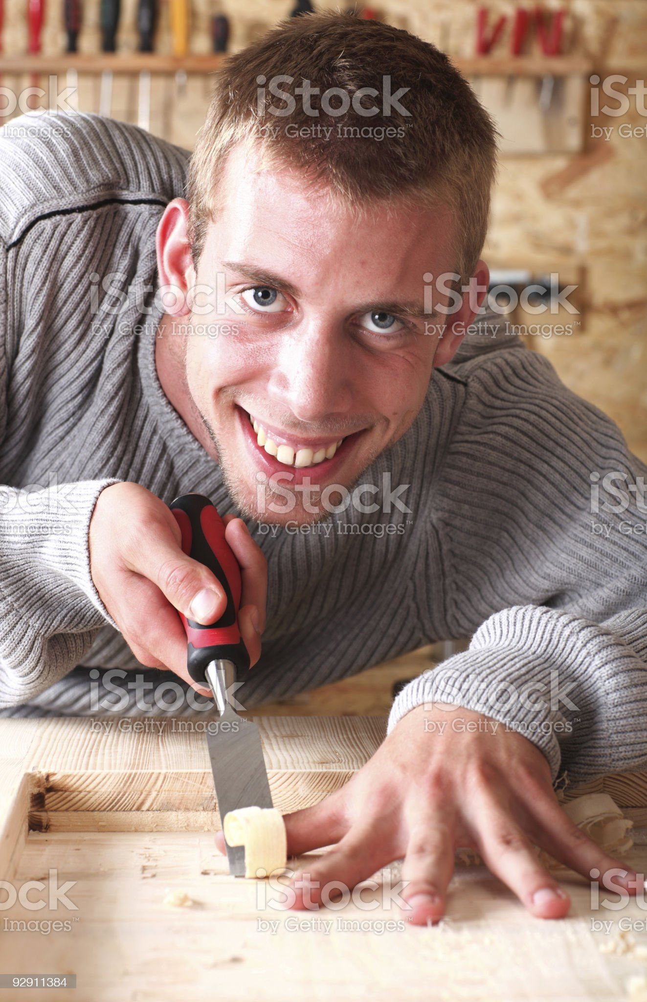 Young smiling carpenter royalty-free stock photo