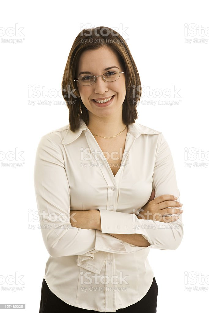 Young smiling female with arms crossed wearing glasses royalty-free stock photo