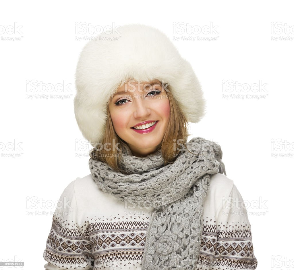 Young smiling girl with fur hat royalty-free stock photo