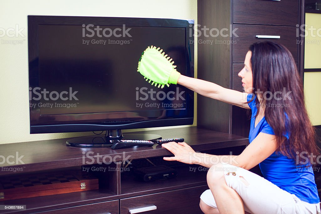 Young smiling maid. House cleaning service concept. stock photo