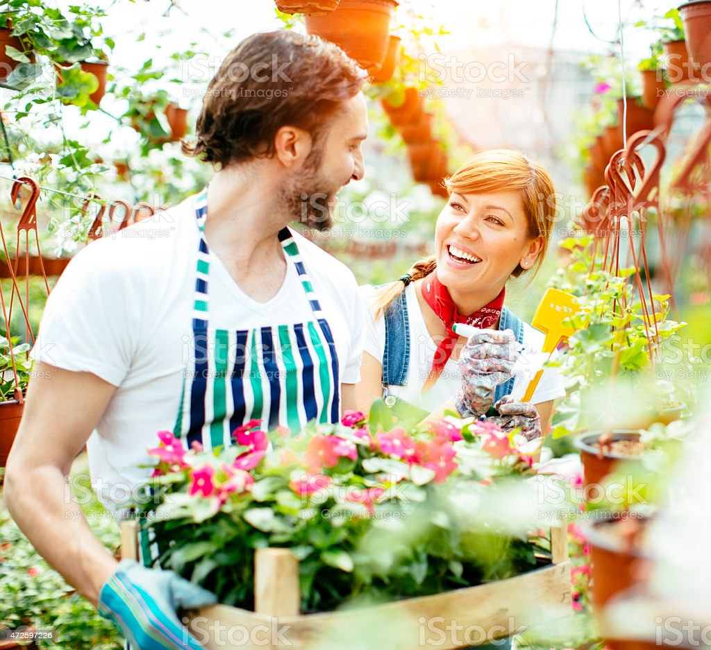 Young Smiling People Working At Plant Nursery Startup. stock photo