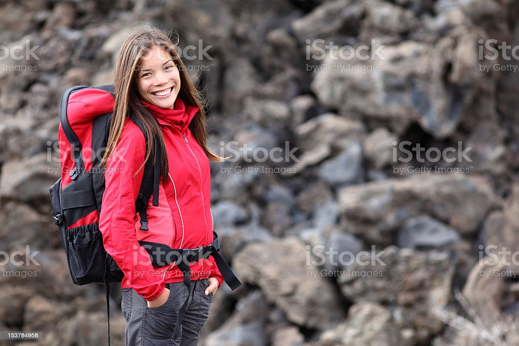 Young smiling woman hiking royalty-free stock photo