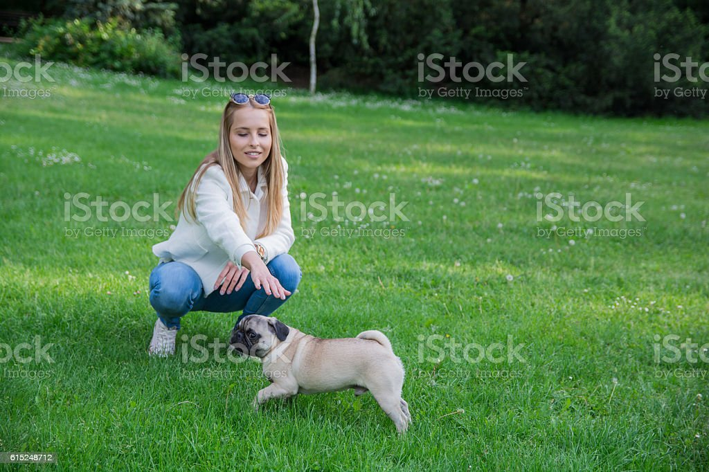 Young smiling woman petting her dog in the park stock photo