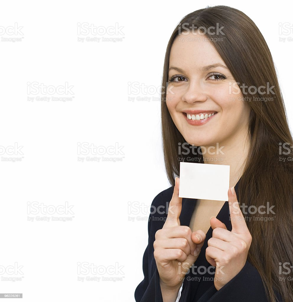 Young smiling woman with the card stock photo