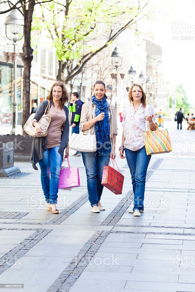 Young Smiling Women Shopping. royalty-free stock photo