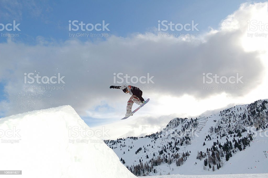 young snowboarder  jumping royalty-free stock photo