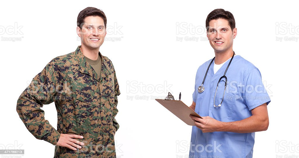young soldier and male nurse posing against white royalty-free stock photo