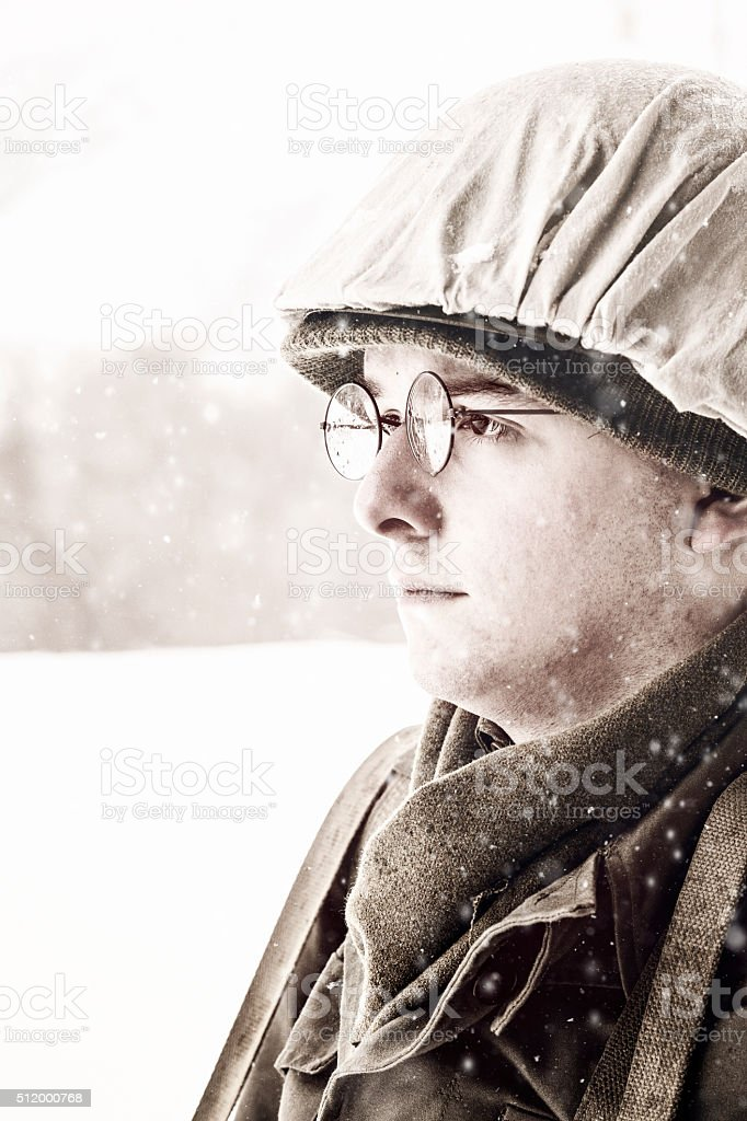 Young Soldier During WWII Thinking About His Future stock photo