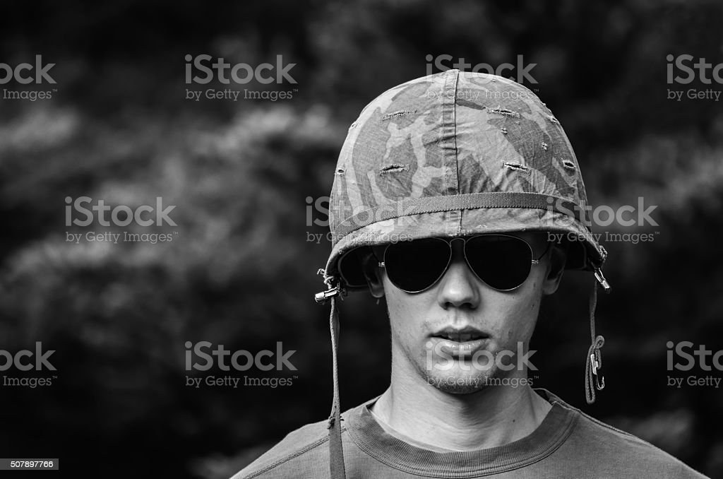 Young soldier stock photo
