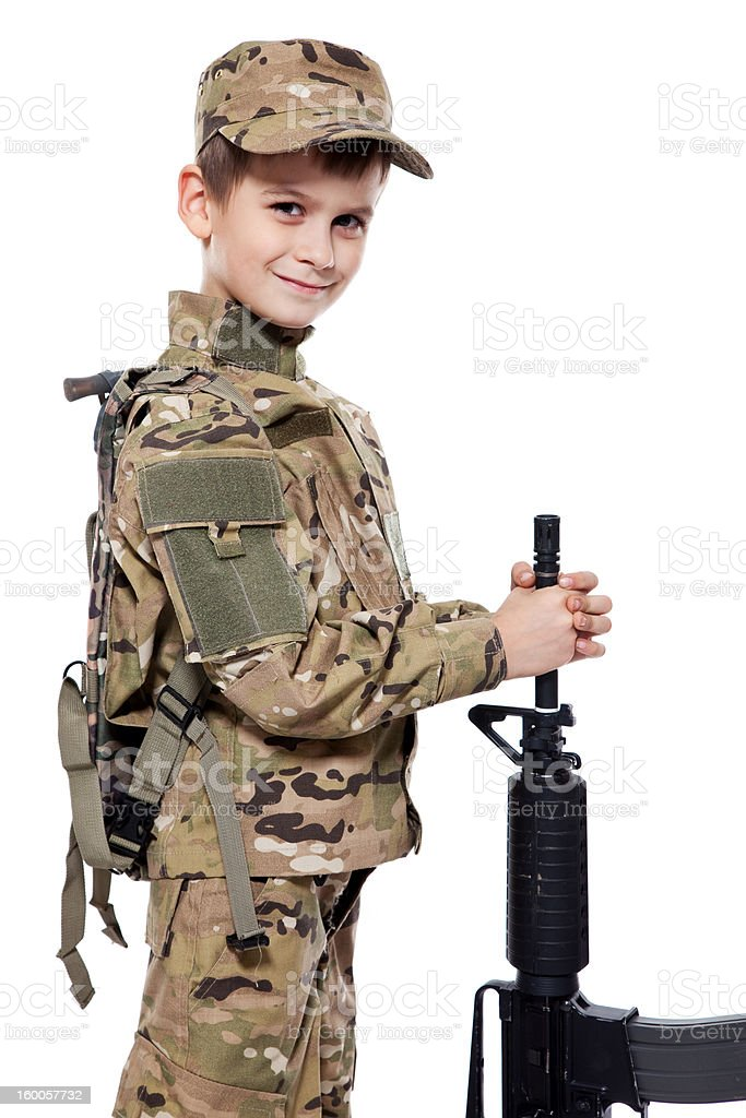 Young soldier with rifle royalty-free stock photo