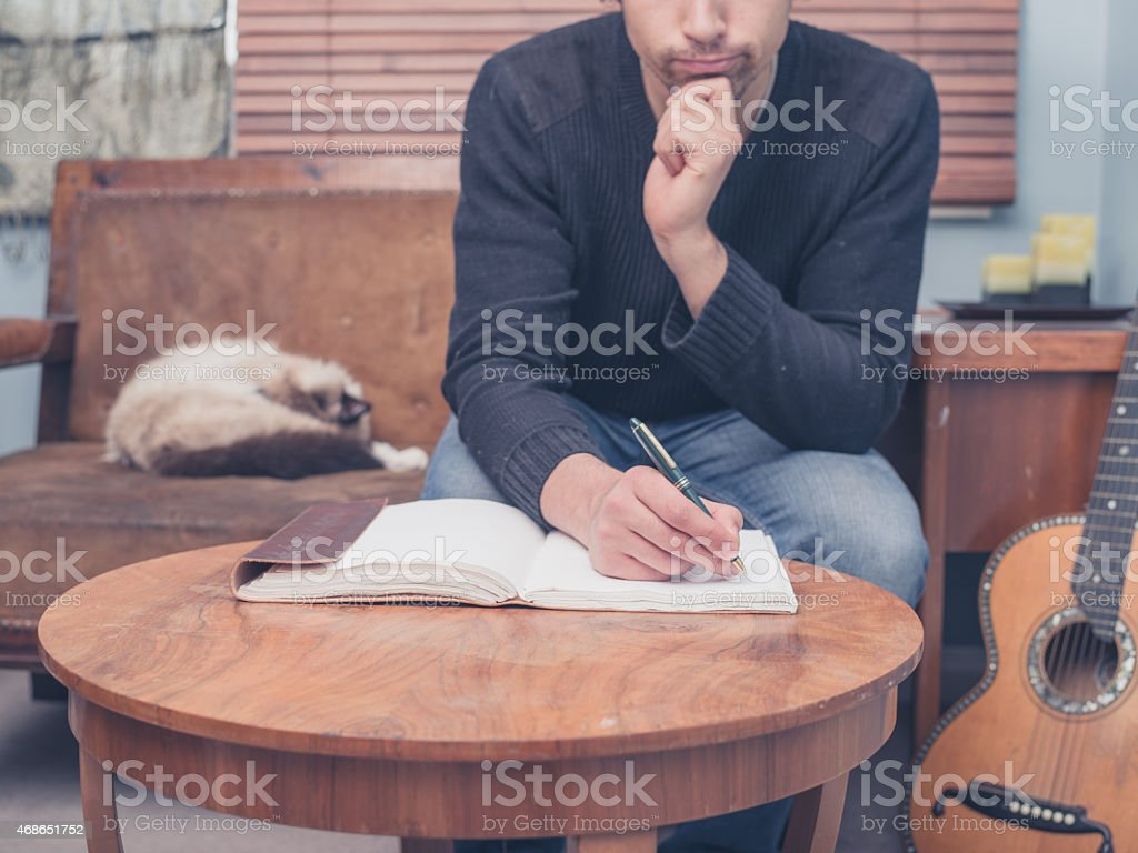 Young songwriter sitting on sofa at home stock photo