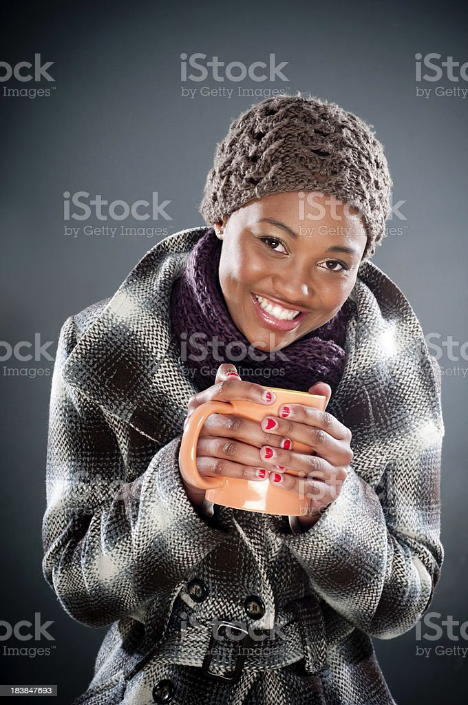 Young South African female drinking coffee royalty-free stock photo