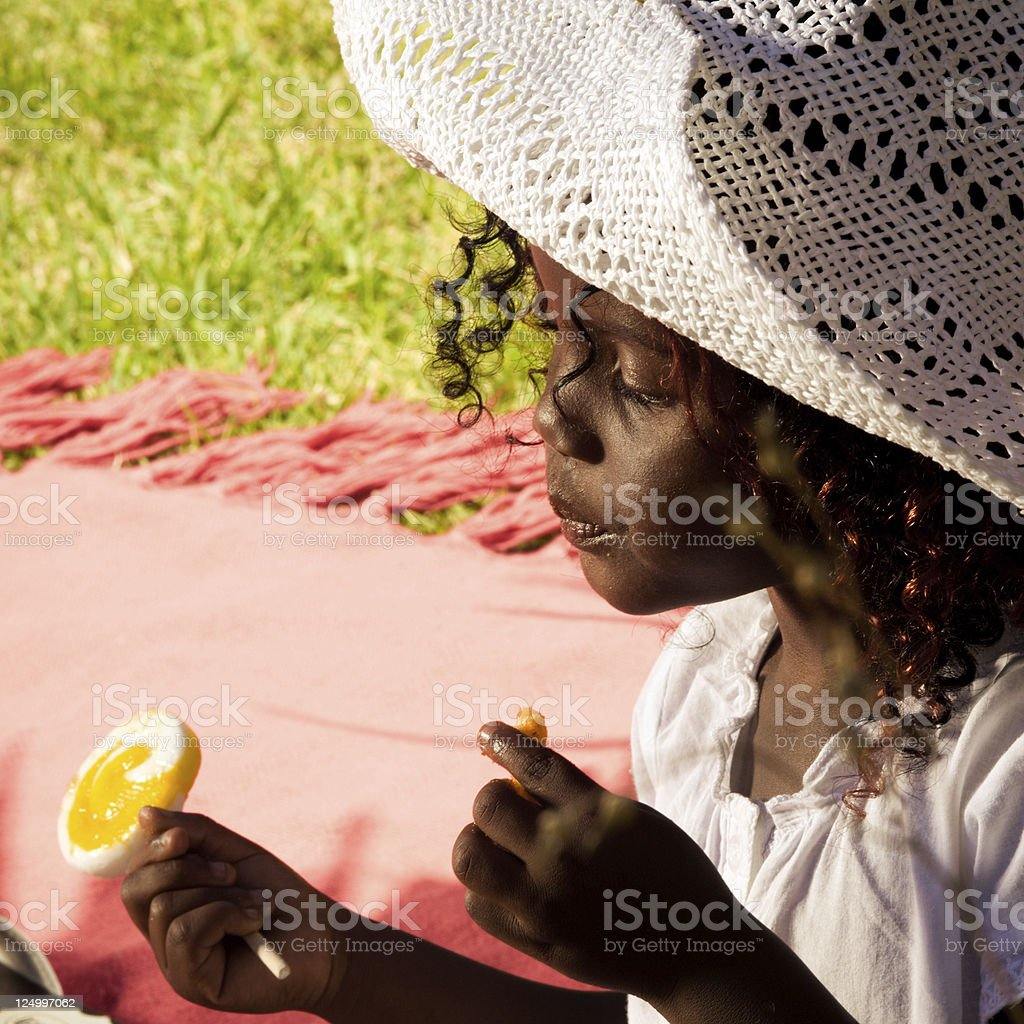Young South African girl having picnic stock photo