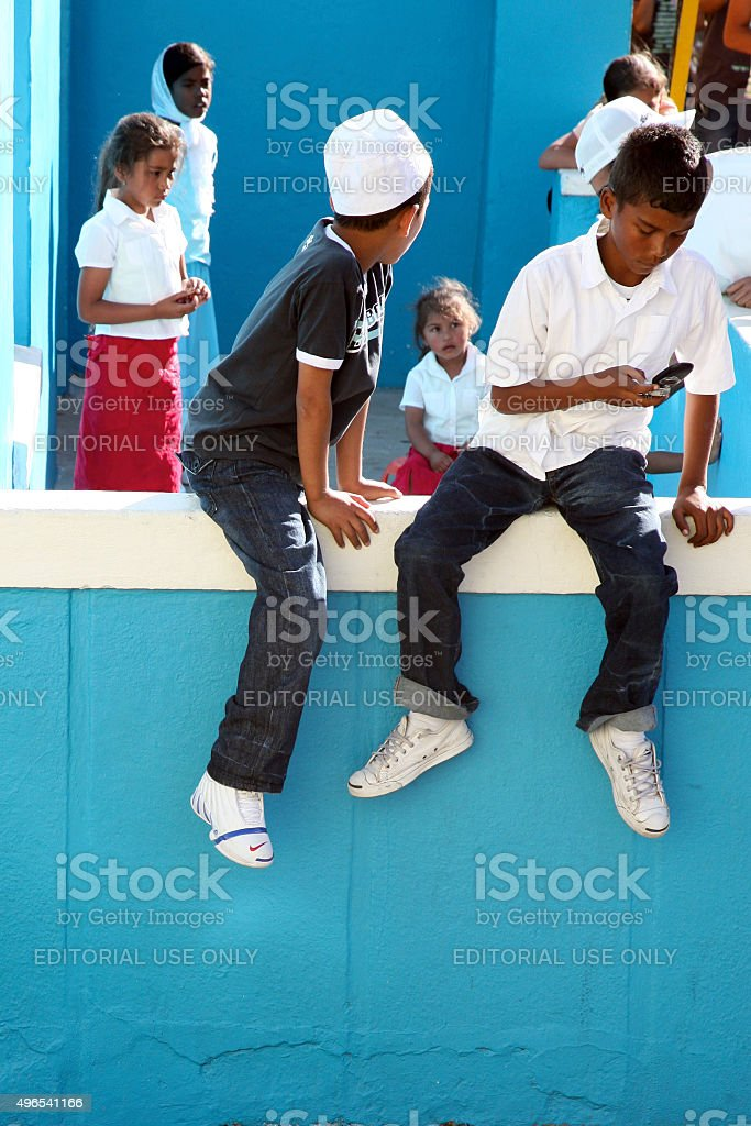 Young South African kids playing in Cape Town stock photo