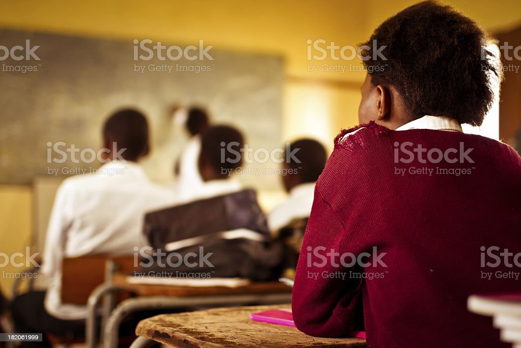 Young South African students concentrating in English class stock photo