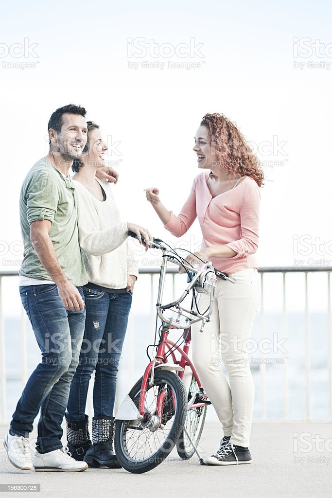 Young spanish friends chating in Barcelona. royalty-free stock photo