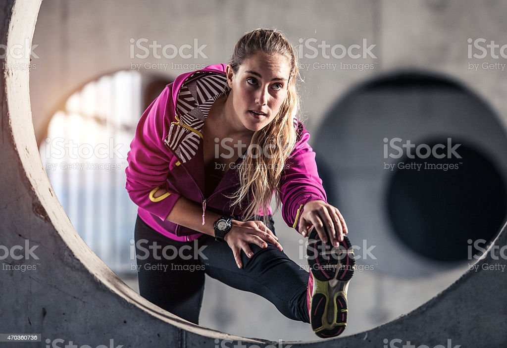 Young sport woman exercising fitness stock photo