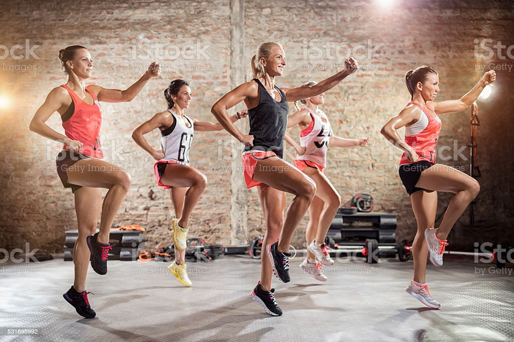 Young sporty women  on training stock photo