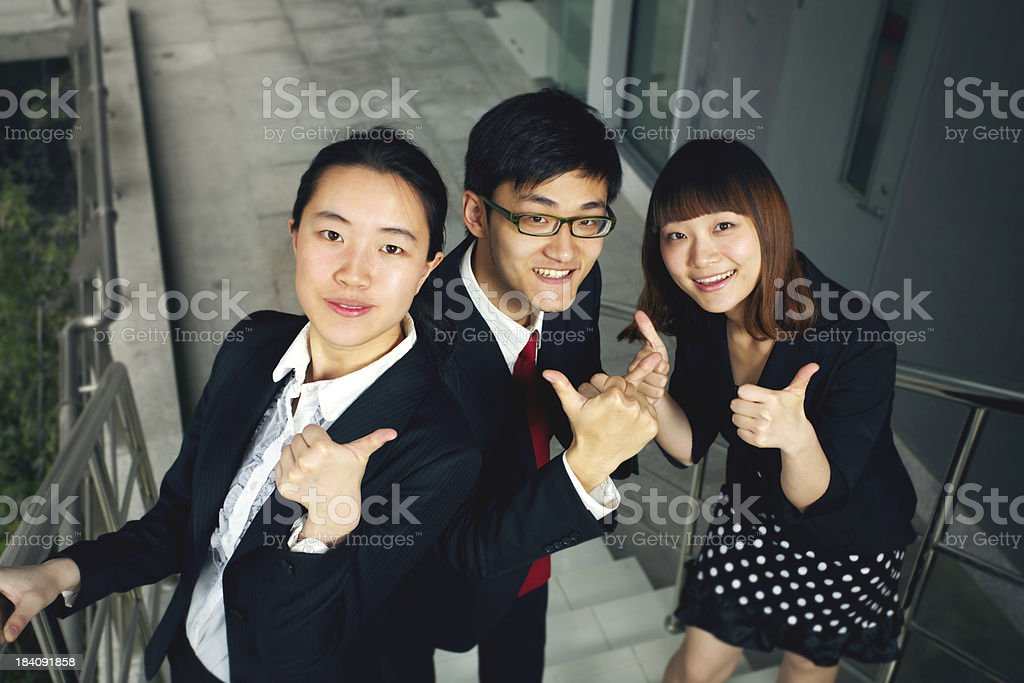 Young staffs on the stairs royalty-free stock photo