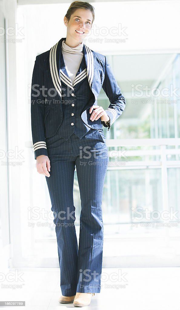 Young stewardess with uniform royalty-free stock photo