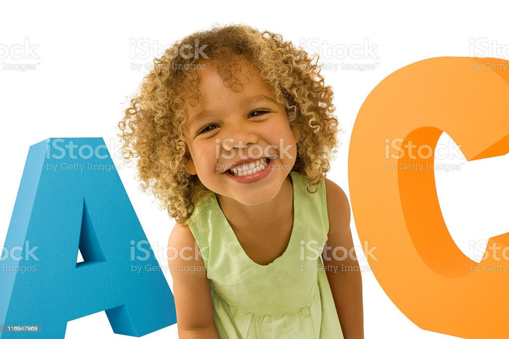 Young stood in front of ABC royalty-free stock photo