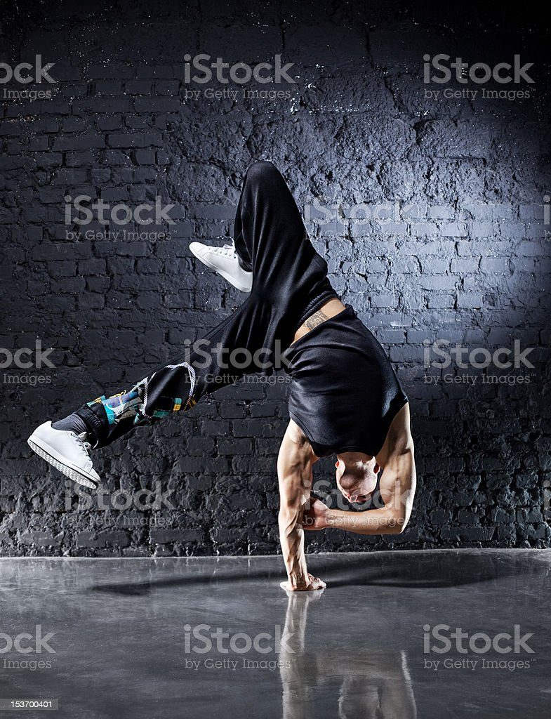 Young strong man break dance stock photo