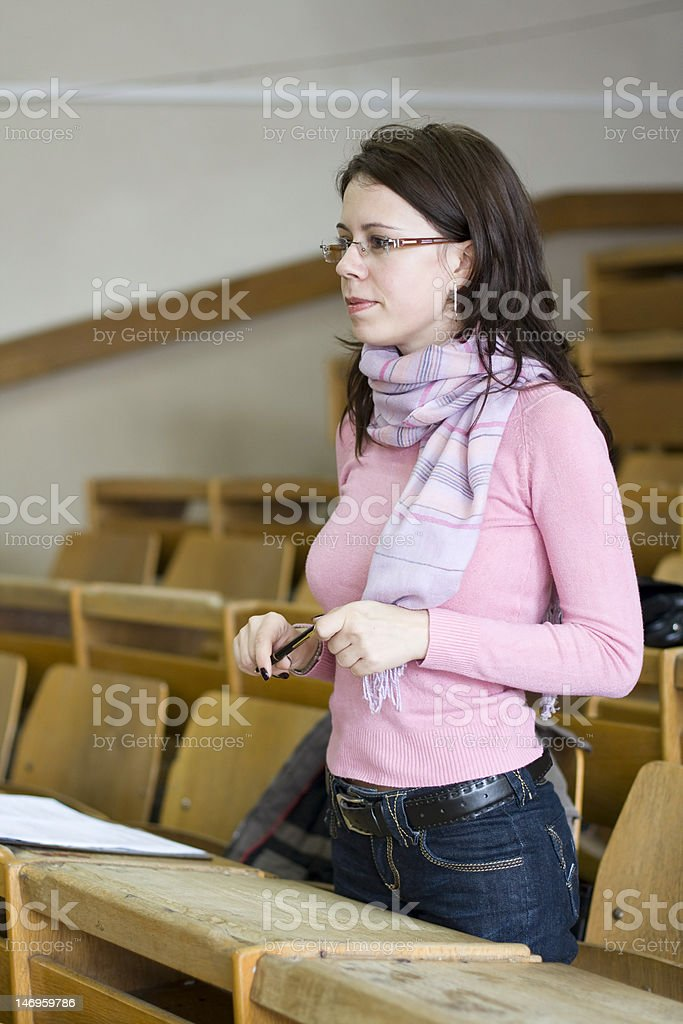 young student at the university during exam royalty-free stock photo