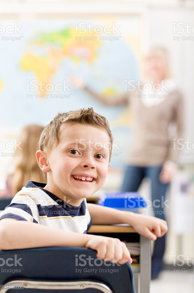 Young Student in a Classroom royalty-free stock photo