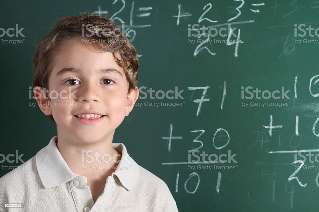 Young student in math class royalty-free stock photo