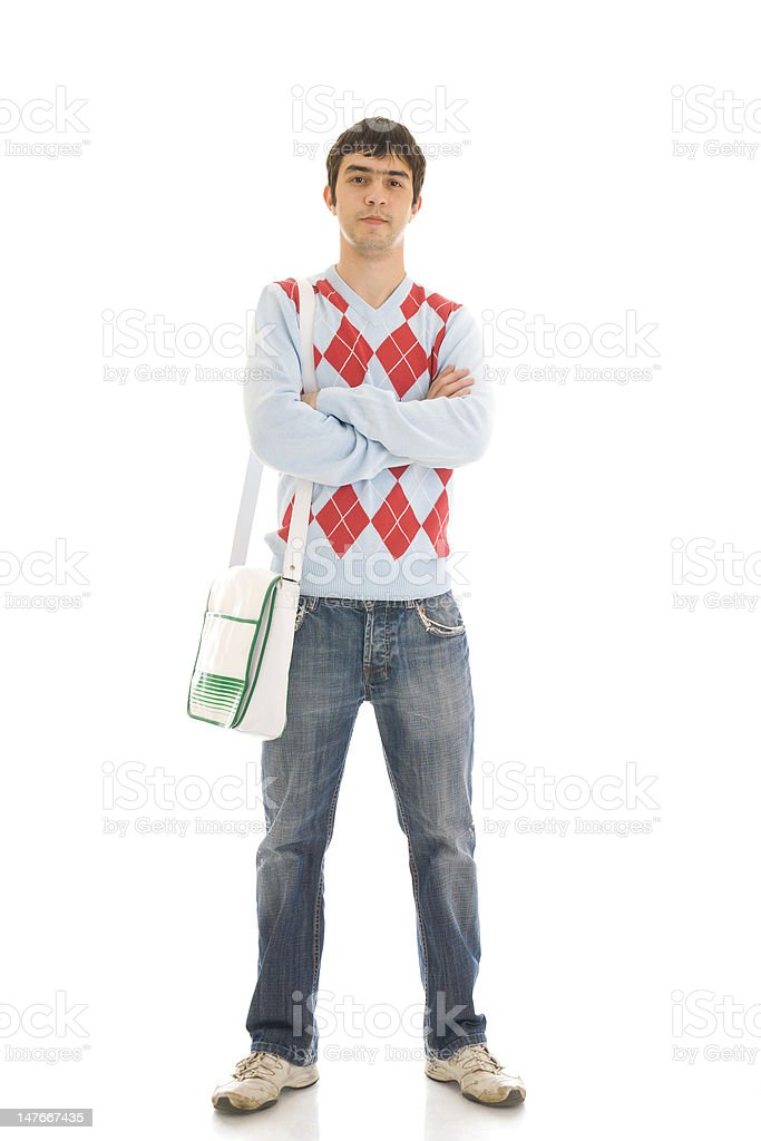 Young student isolated on a white royalty-free stock photo