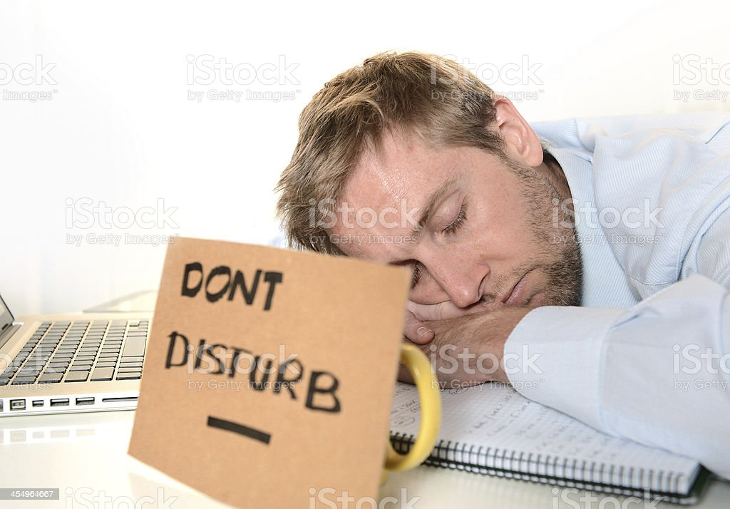Young Student Overwhelmed Dont Disturb stock photo