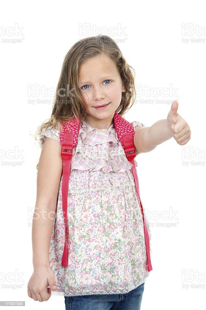 Jeune étudiant montre pouce levé. photo libre de droits