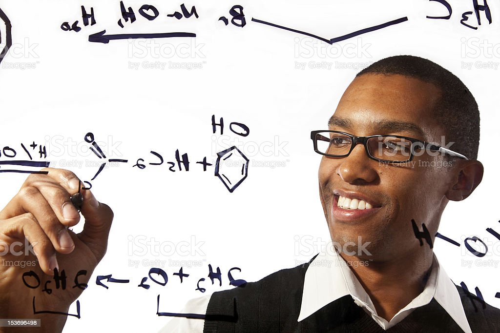 Young student studying chemistry stock photo
