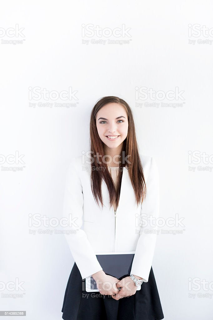 Young Student with Digital Tablet On White Backround stock photo