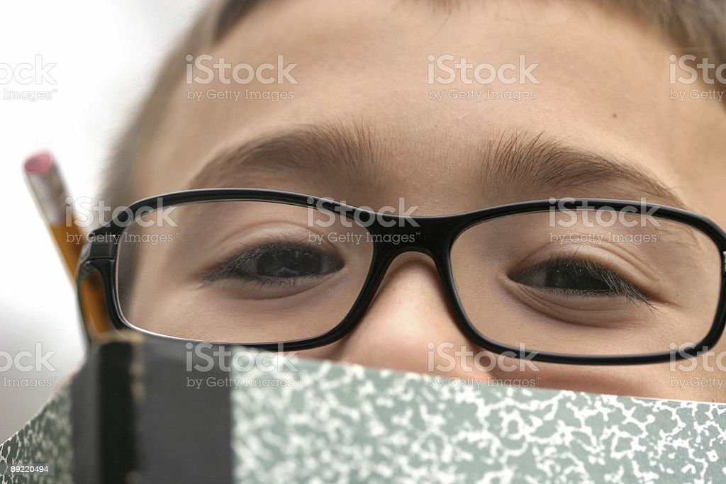 Young student with glasses doing homework in a notebook royalty-free stock photo
