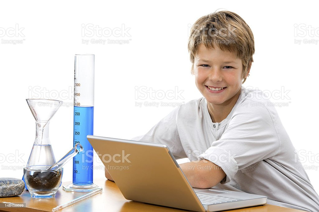 Young student with laboratory equipment. stock photo