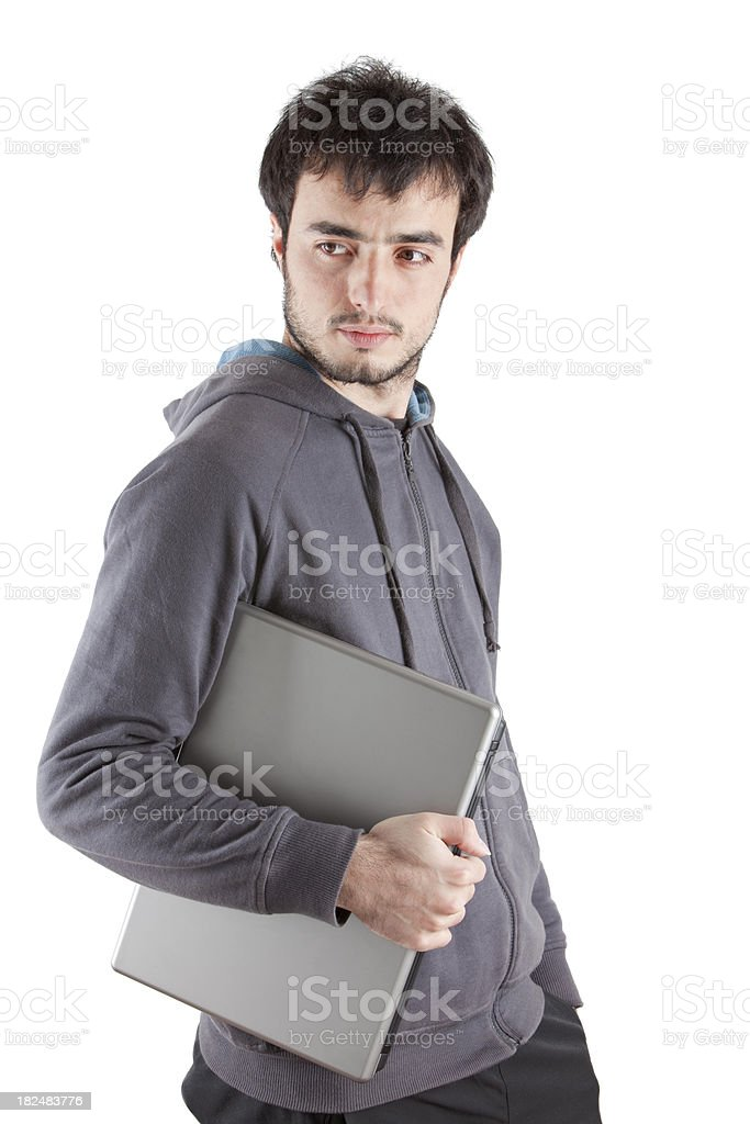 Young Student With Laptop, Isolated on White royalty-free stock photo