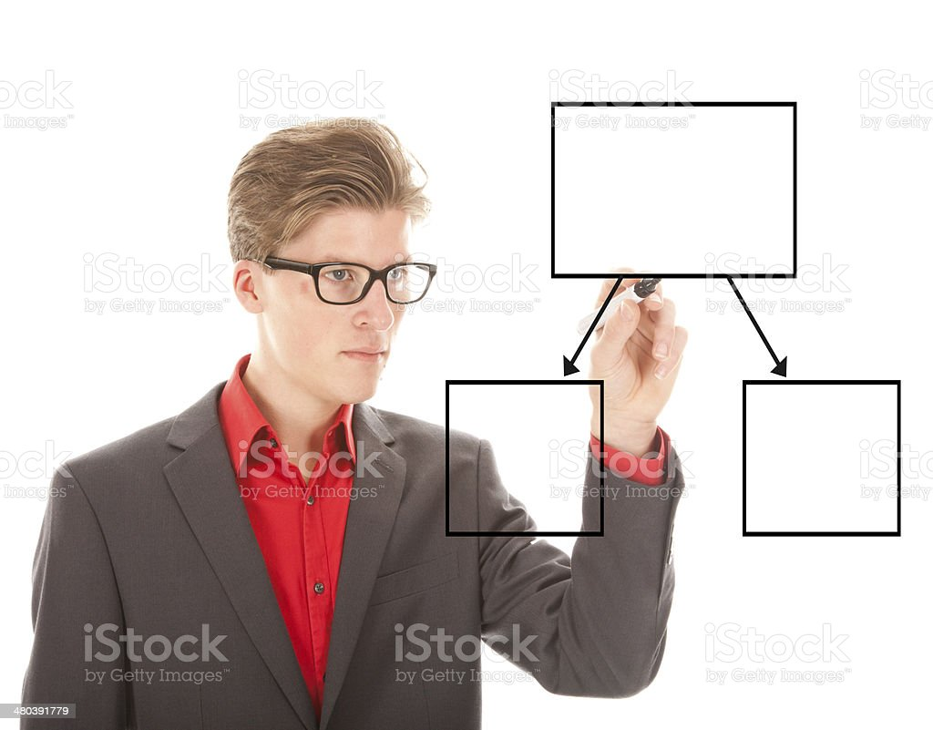 Young student writing an chart isolated on white background stock photo