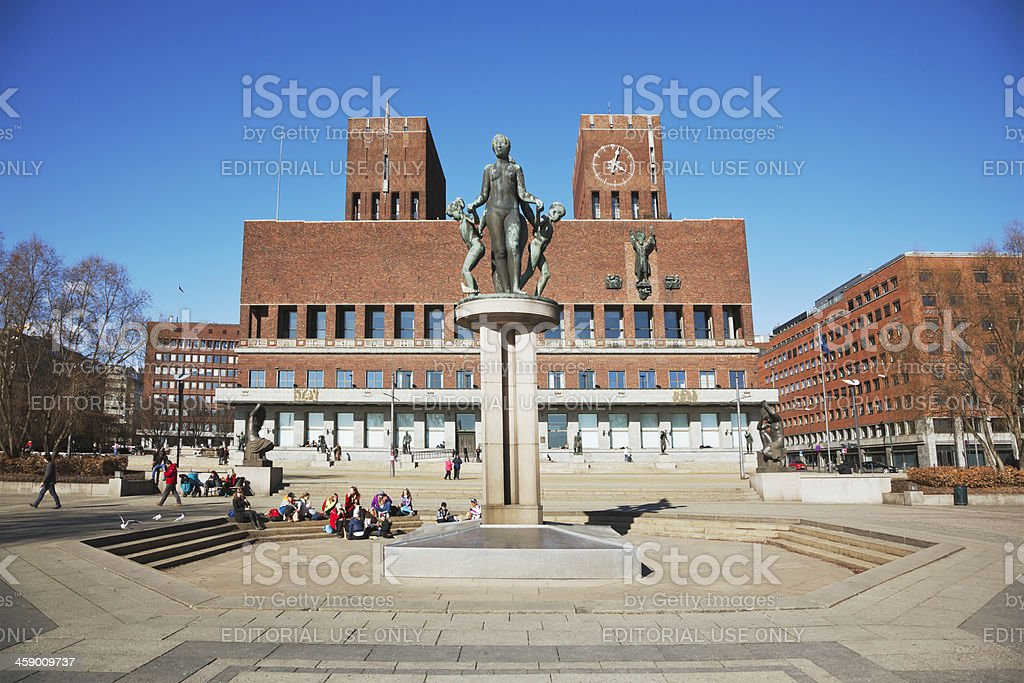 Young students in front of Oslo City Hall. royalty-free stock photo