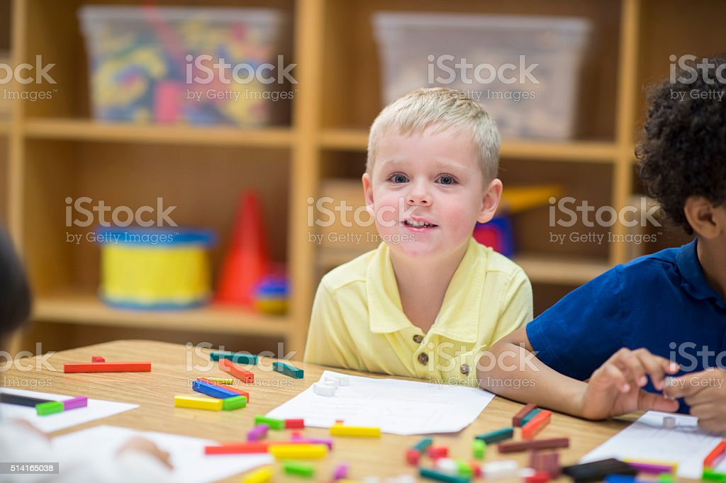 Young Students Making Crafts stock photo