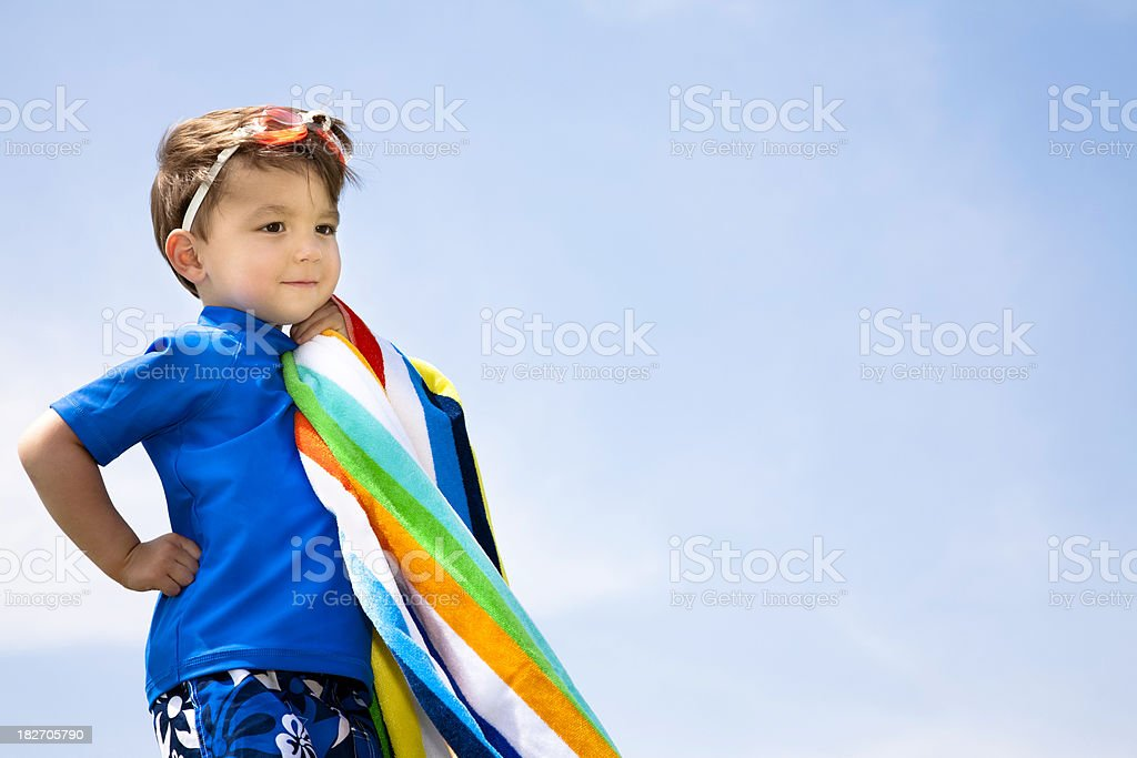 Young Summer Boy Dreaming, ready to swim royalty-free stock photo