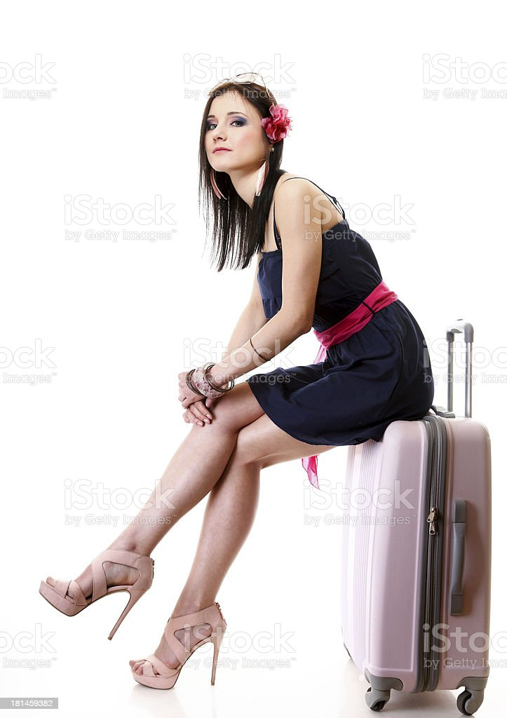 Young summer girl with travel suitcase on white royalty-free stock photo