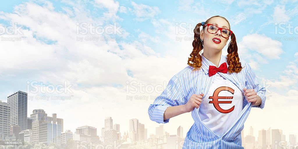 Young  super hero woman stock photo