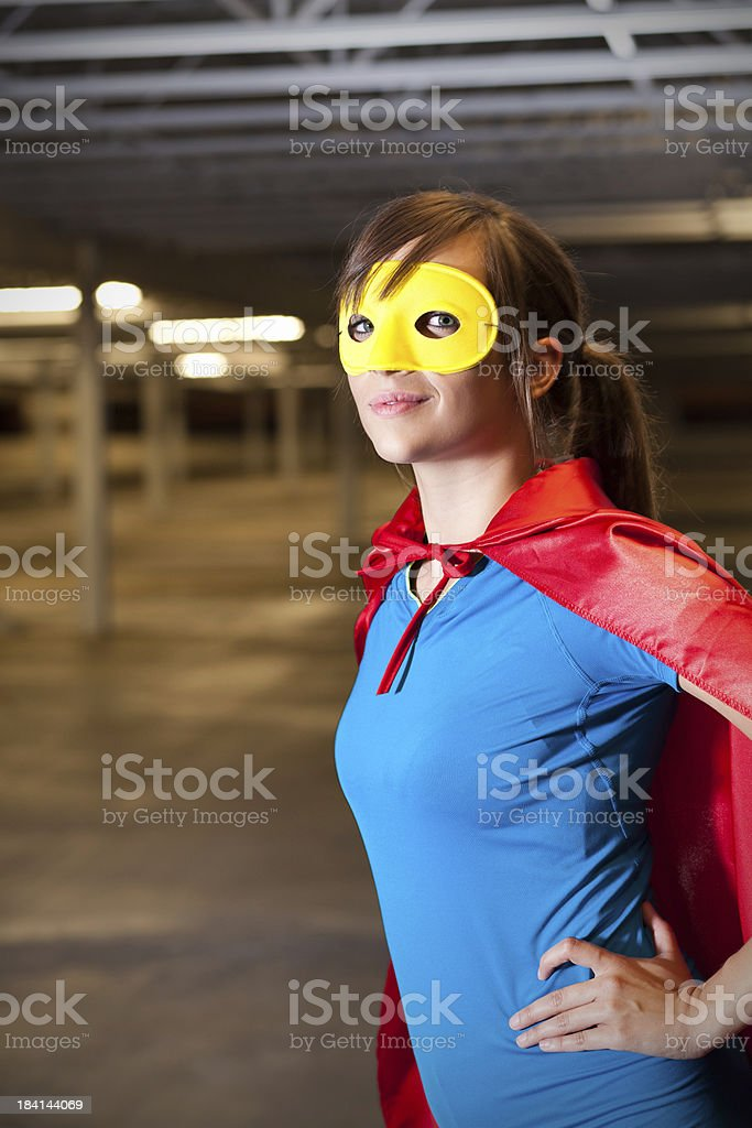 Young Superhero in Abandon Building royalty-free stock photo