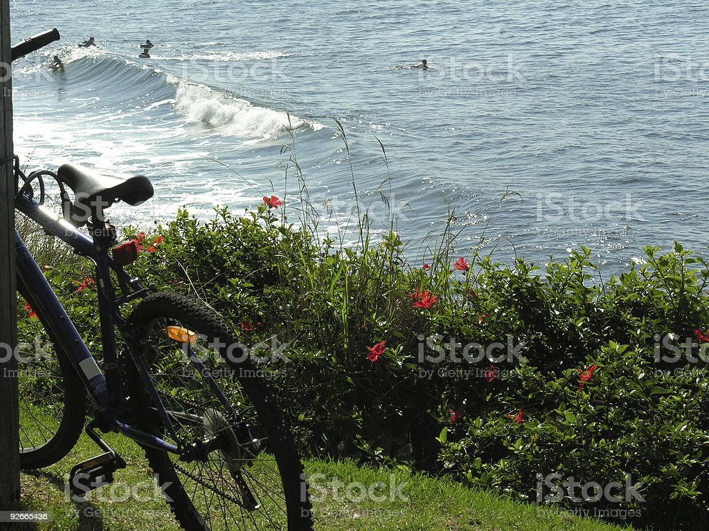 Young surfers and bicycle royalty-free stock photo
