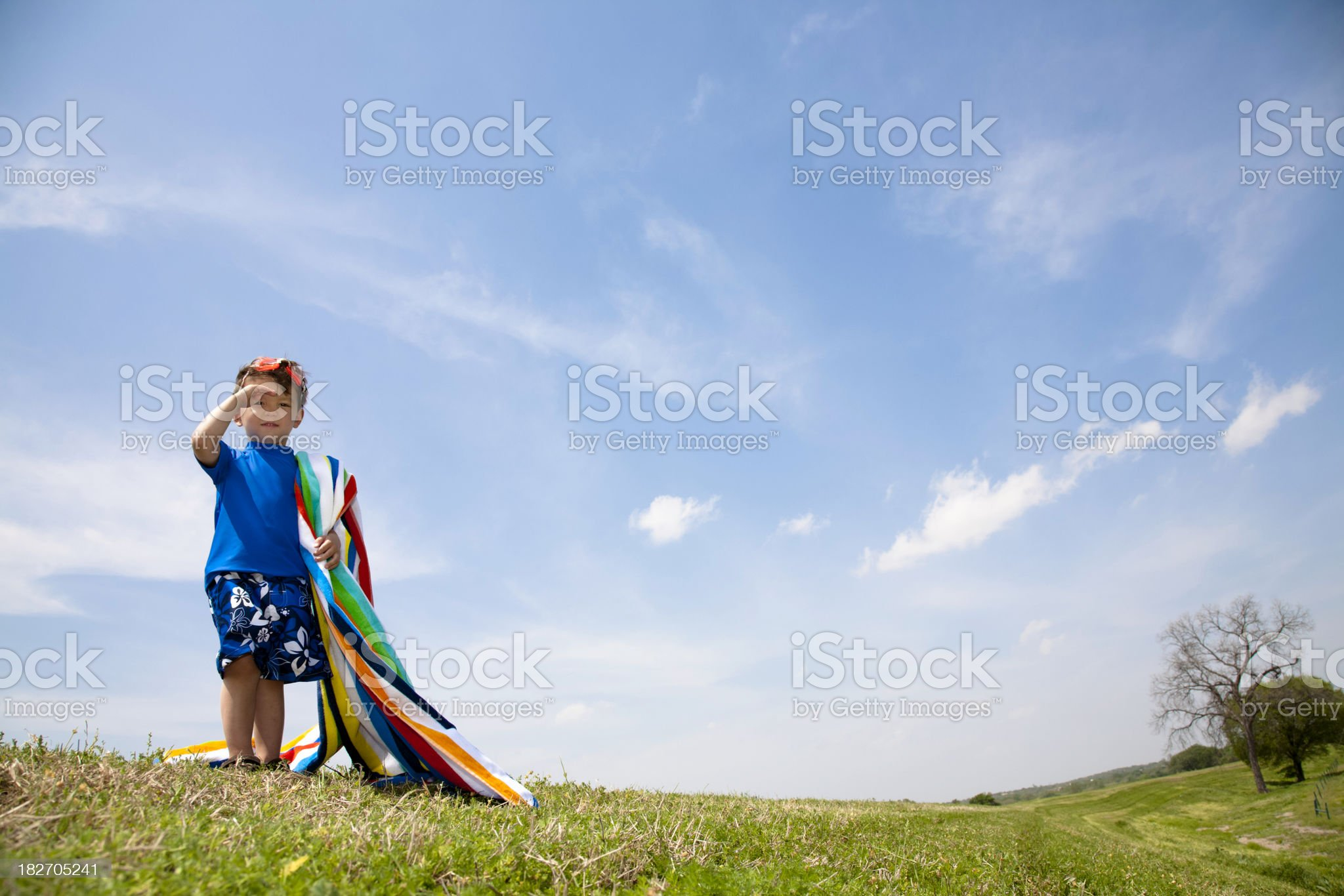 Young swimmer looking off for somewhere to swim royalty-free stock photo