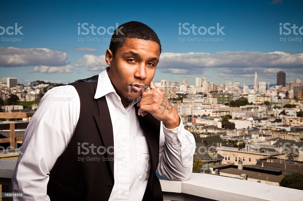 Young Tattooed African-American Man in San Francisco royalty-free stock photo